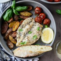 Tuscan Chicken and Potato Sheet Pan Dinner with Balsamic Burst Tomatoes
