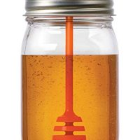 Jarware 82623 Honey Dipper Lid for Regular Mouth Mason Jars, Orange