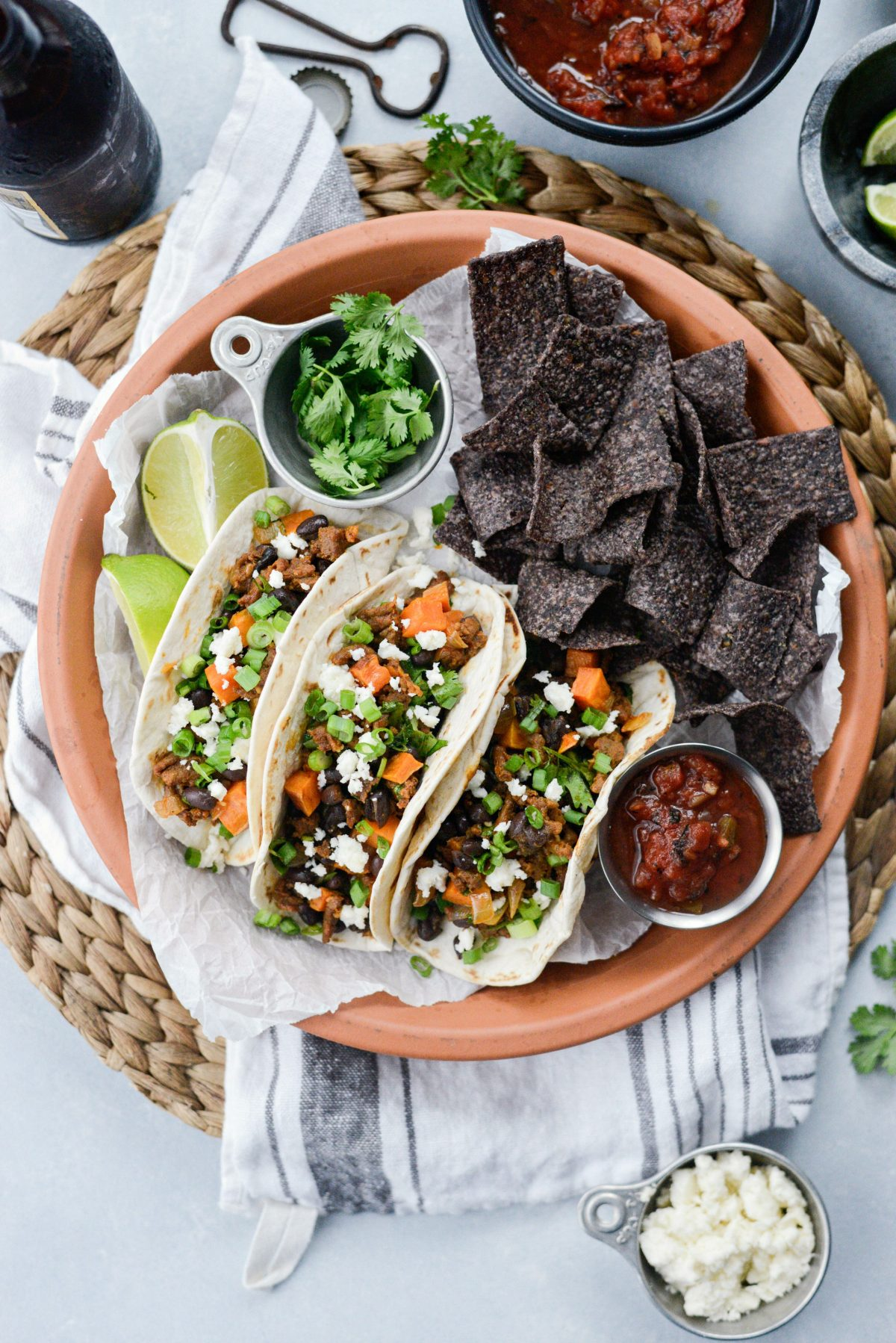 plate o fChorizo Sweet Potato Black Bean Tacos