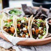 Chorizo Sweet Potato Black Bean Tacos