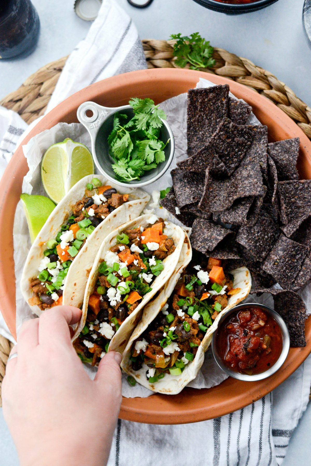 Chorizo Sweet Potato Black Bean Tacos with chips and salsa