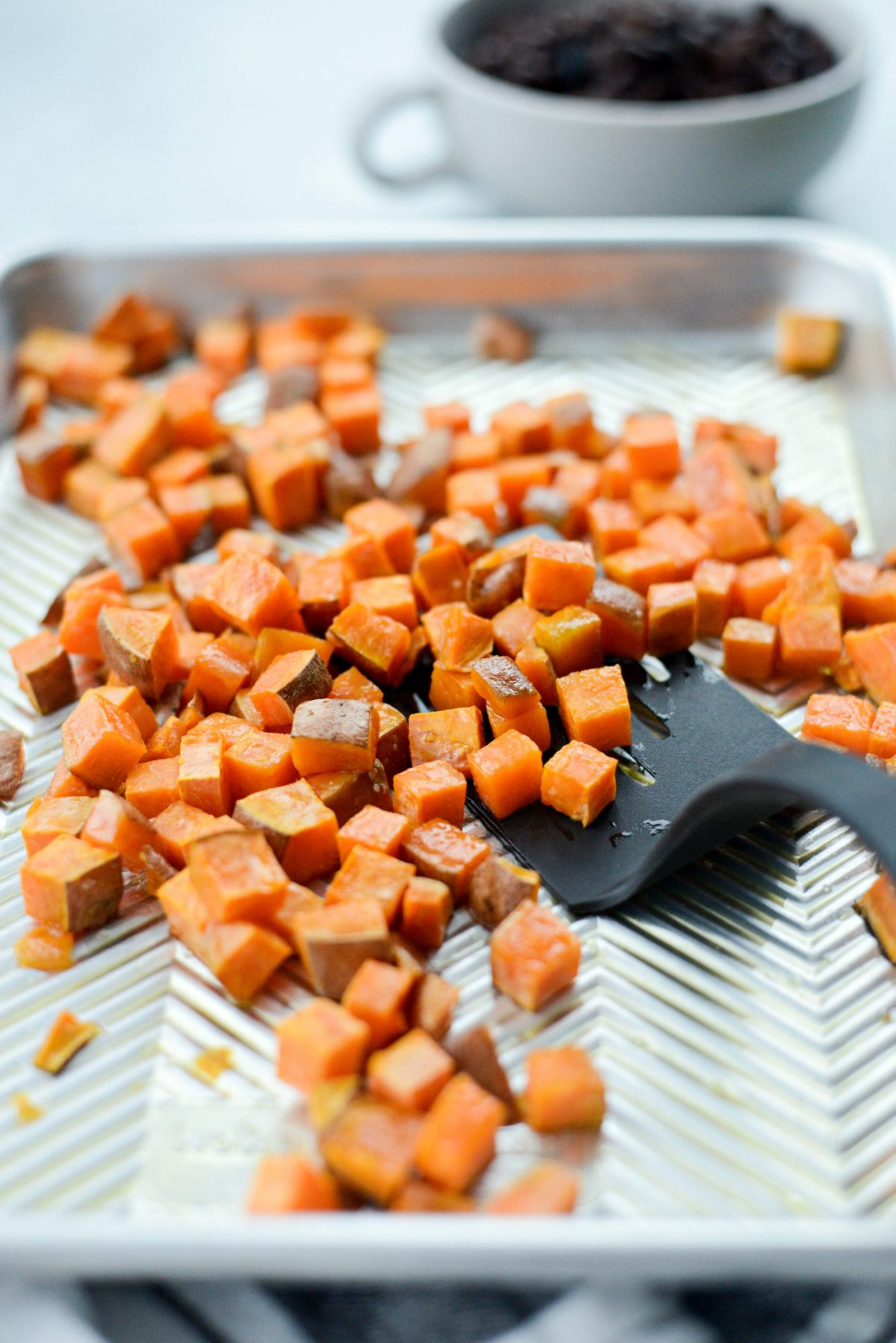 roasted diced sweet potatoes.