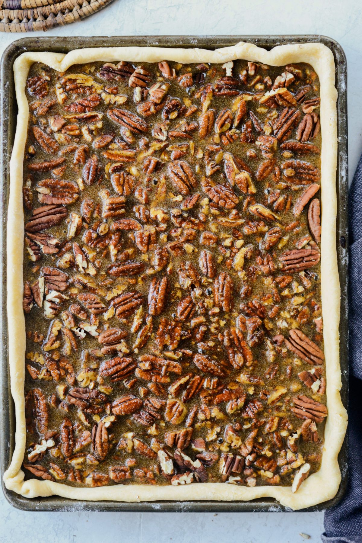 Gingerbread Pecan Slab Pie l SimplyScratch.com