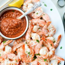 Roasted Shrimp with Homemade Cocktail Sauce l SimplyScratch.com #shrimp #cocktail #easy #appetizer #homemade #holiday #food