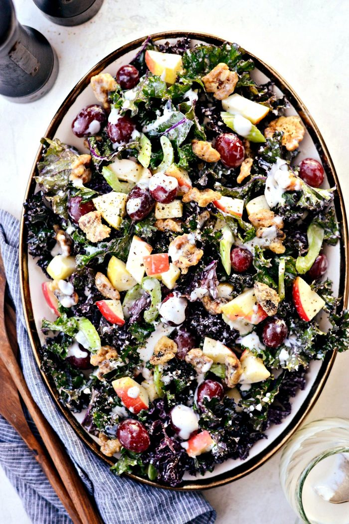 Waldorf Salad with Kale and Candied Walnuts l SimplyScratch.com #waldorf #salad #kale