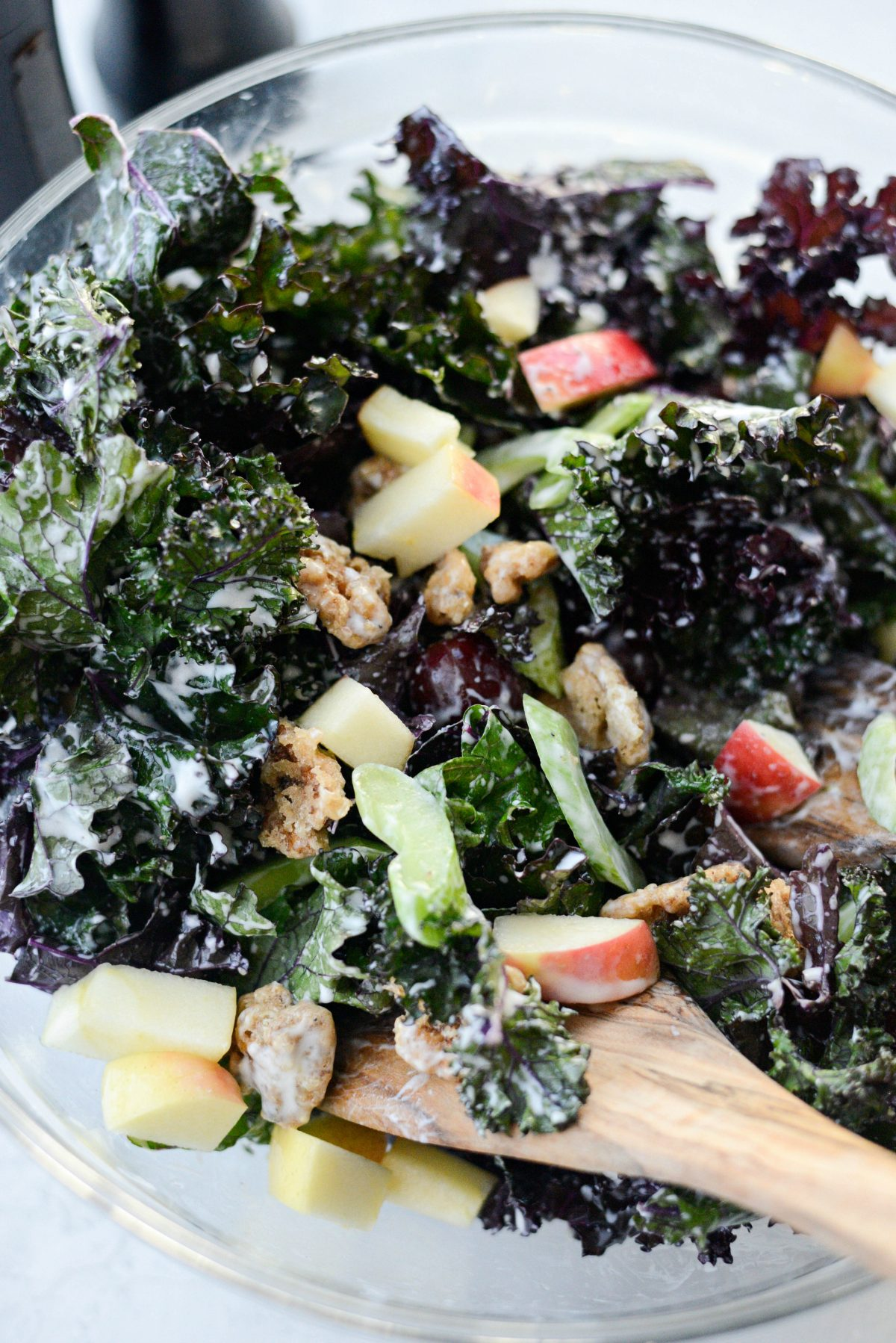 Waldorf Salad with Kale and Candied Walnuts l SimplyScratch.com