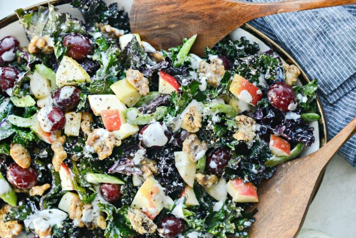 Waldorf Kale Salad with Candied Walnuts