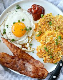 Cauliflower Breakfast Hash Browns l SimplyScratch.com