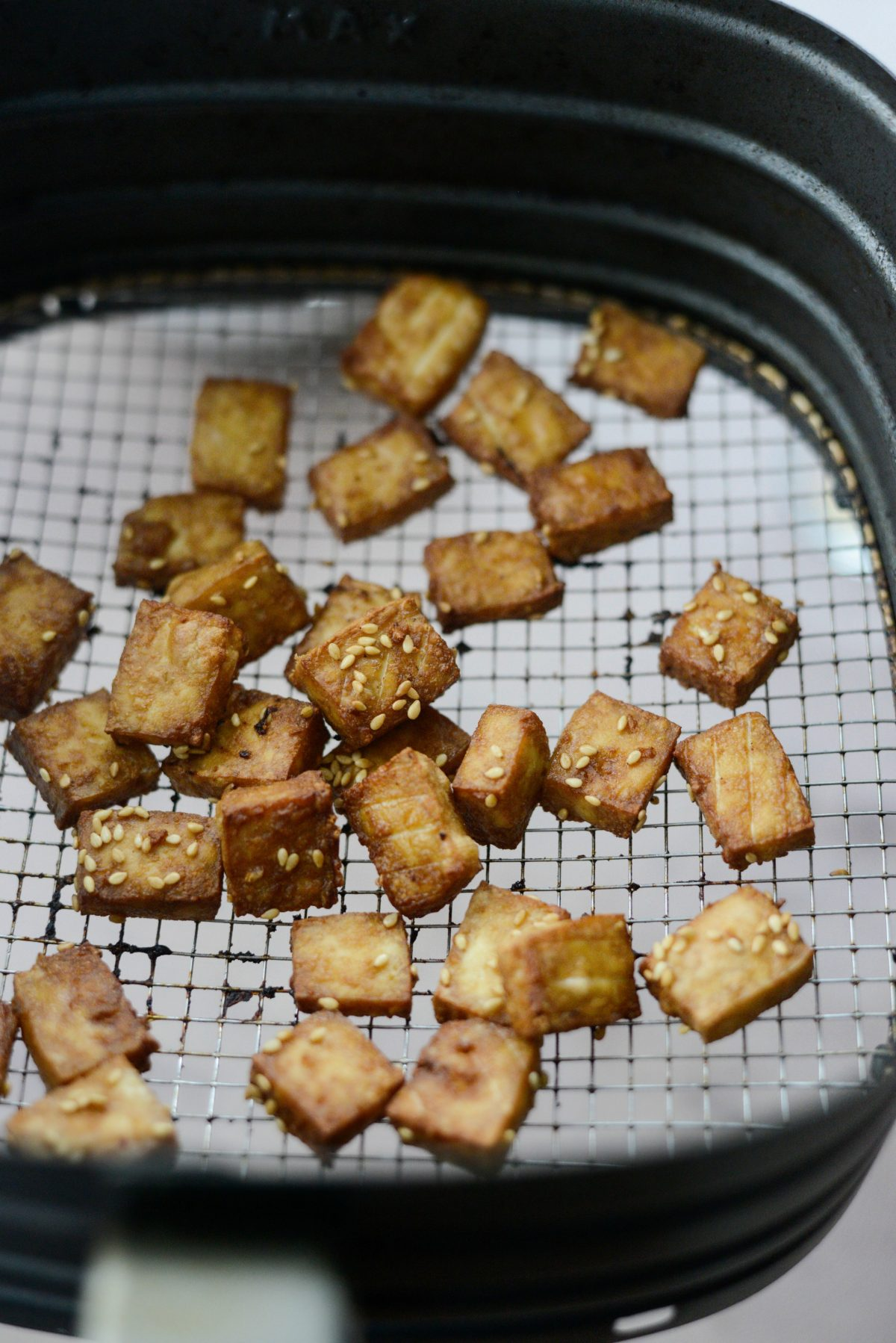 Crispy Air Fryer Tofu with Peanut Sauce l SimplyScratch.com