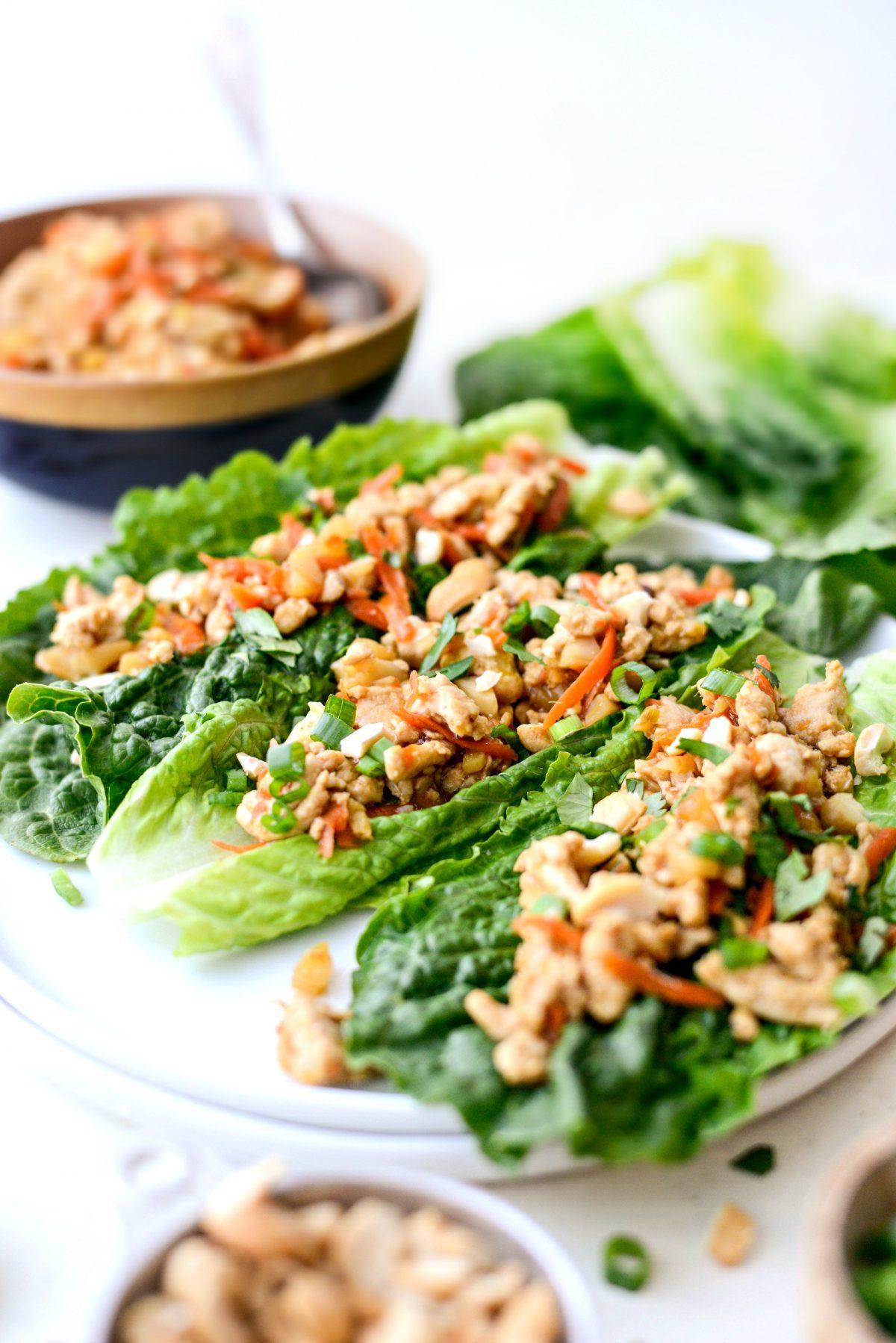 Ginger Cashew Turkey Lettuce Wraps l SimplyScratch.com