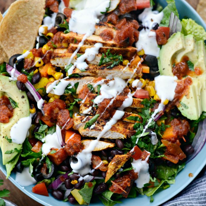 Southwest Chicken Salsa Ranch Taco Salad l SimplyScratch.com