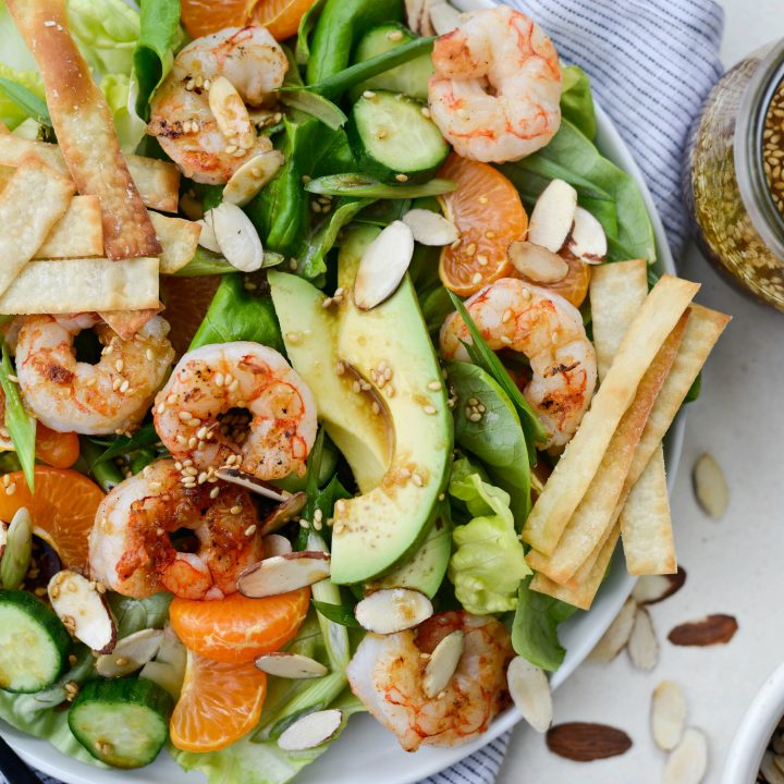 Grilled Asian Shrimp Salad with Crispy Wontons l SimplyScratch.com #shrimp #asian #salad #crispy #wonton #mandarin #oranges #toastedsesame #dressing #avocado