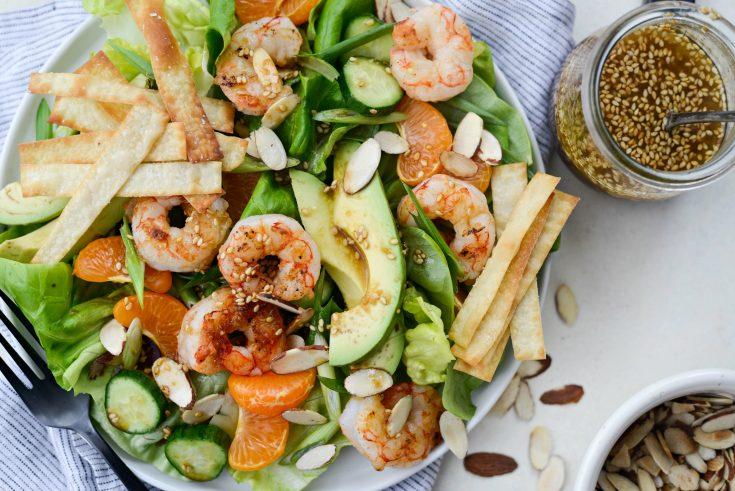 Grilled Asian Shrimp Salad with Crispy Wontons