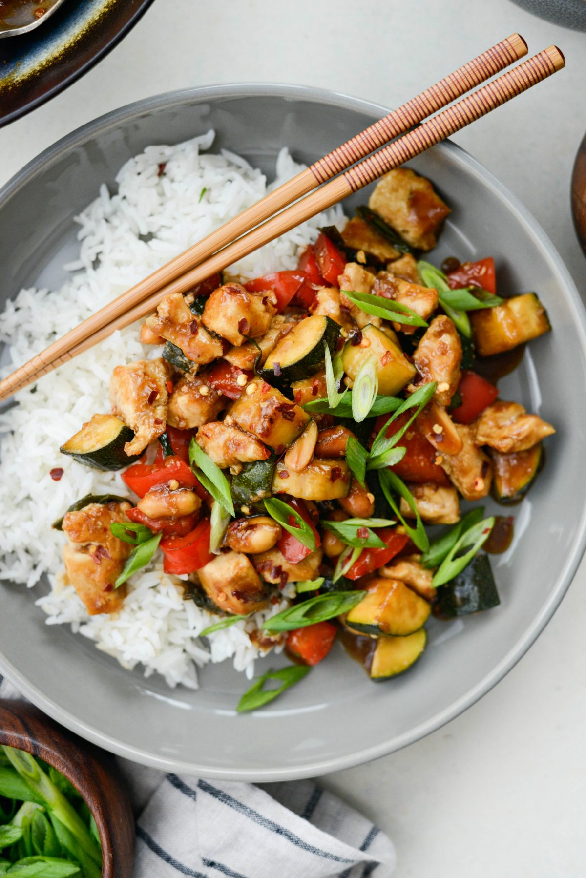 Kung Pao Chicken Stir-fry l SimplyScratch.com #kungpao #chicken #stirfry #zucchini #homemade #fromscratch #easy #healthy #rice #wok #chinese #takeout
