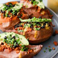 Vegetarian Chorizo Stuffed Sweet Potatoes with Crispy Black Beans