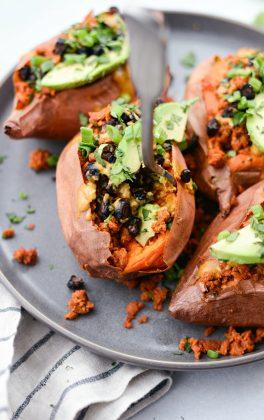Vegetarian Chorizo Stuffed Sweet Potatoes l SimplyScratch.com #vegetarian #chorizo #sweetpotato #healthy #tahini #roasted #blackbeans #southwest #easy #recipe
