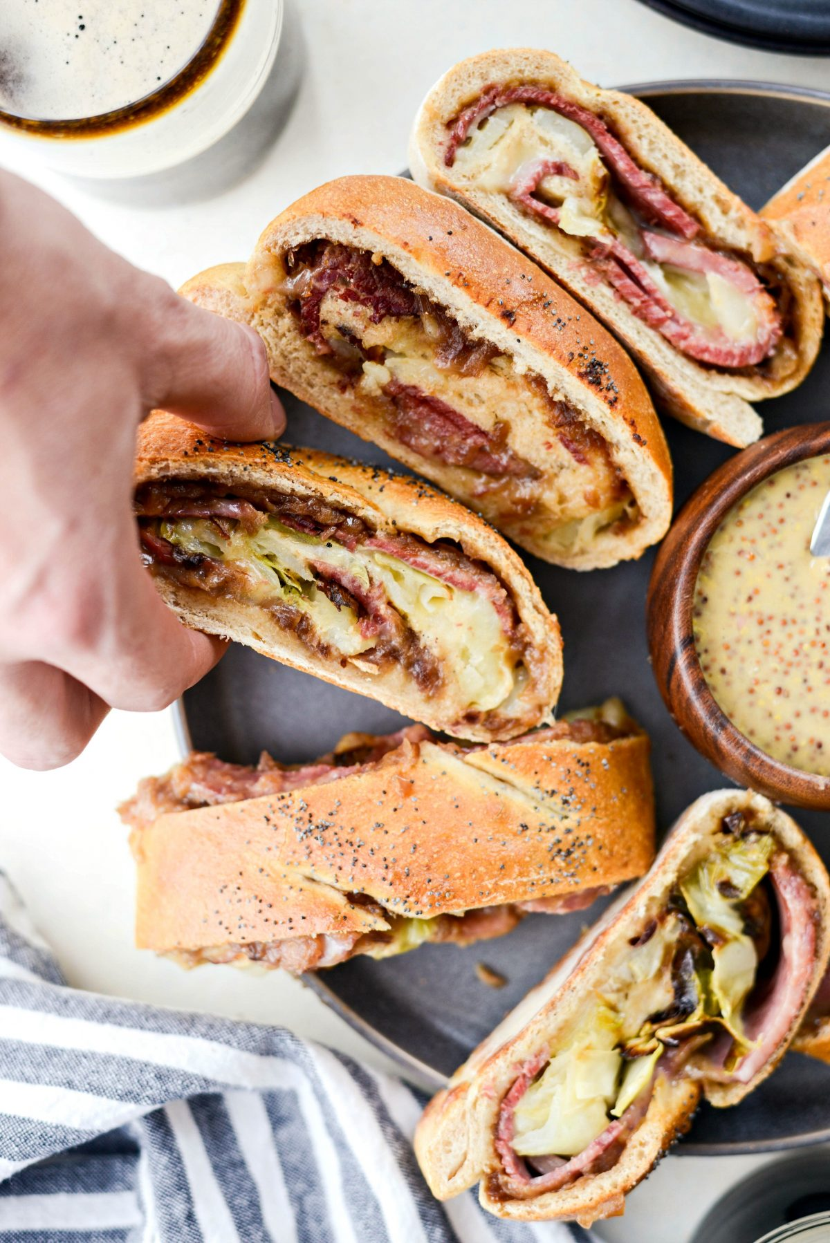 Corned Beef and Cabbage Stromboli with Guinness Mustard l Recipes to Make On St. Patrick's Day