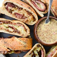 Corned Beef and Cabbage Stromboli with Guinness Mustard
