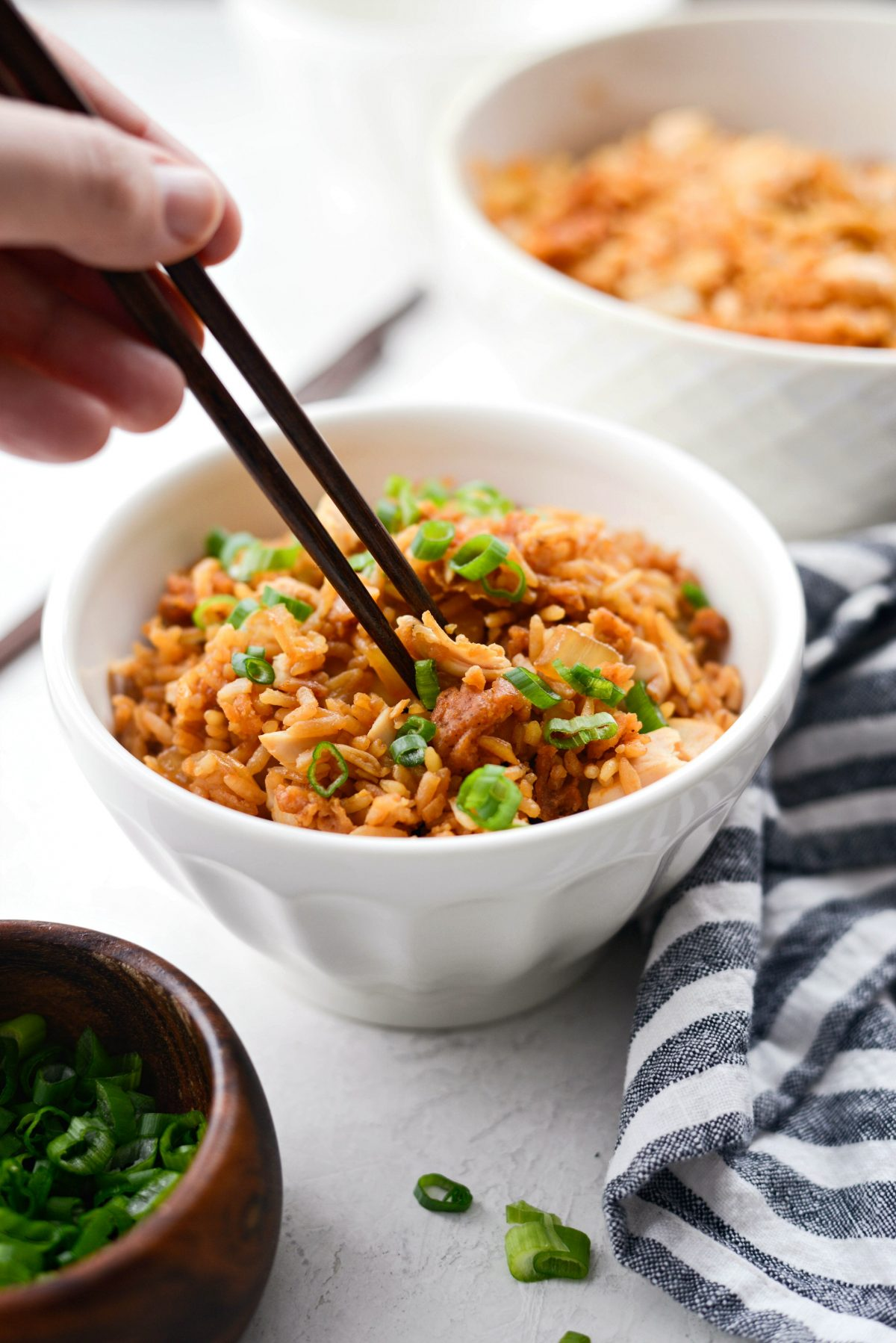Crispy Fried Chicken Fried Rice l SimplyScratch.com #friedchicken #leftover #rice #friedrice #easy #quick #spicy