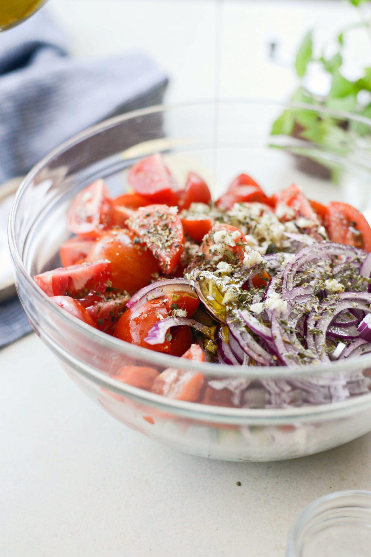 Cucumber Tomato Salad l SimplyScratch.com #cucumber #tomato #salad #lemon #vinaigrette