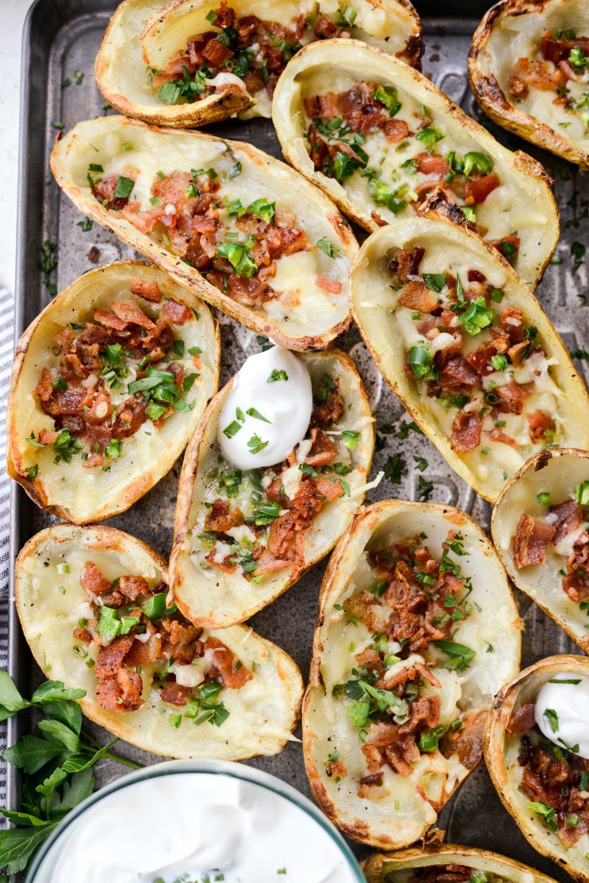 Irish Cheddar Bacon Jalapeño Potato Skins