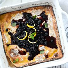 Lemon Ricotta Puff Pancake l SimplyScratch.com #ricotta #lemon #pancake #breakfast #wildblueberries