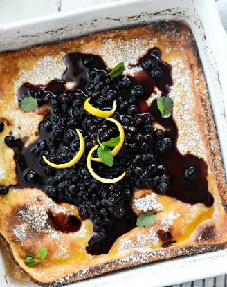 Lemon Ricotta Puff Pancake l SimplyScratch.com #ricotta #lemon #pancake #breakfast #wildblueberries