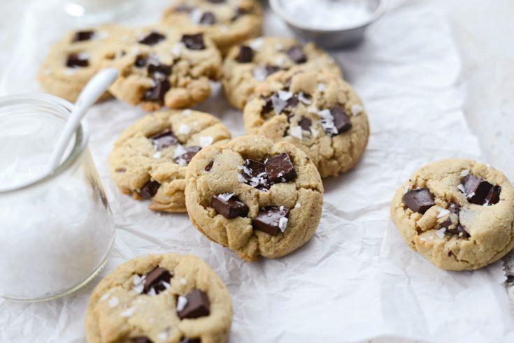 Salted Dark Chocolate Chunk Tahini Cookies