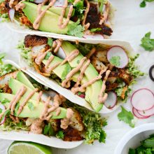 Blackened Fish Tacos with Cilantro Pesto Slaw l SimplyScratch.com #blackened #fish #tacos #cod #cilantroslaw