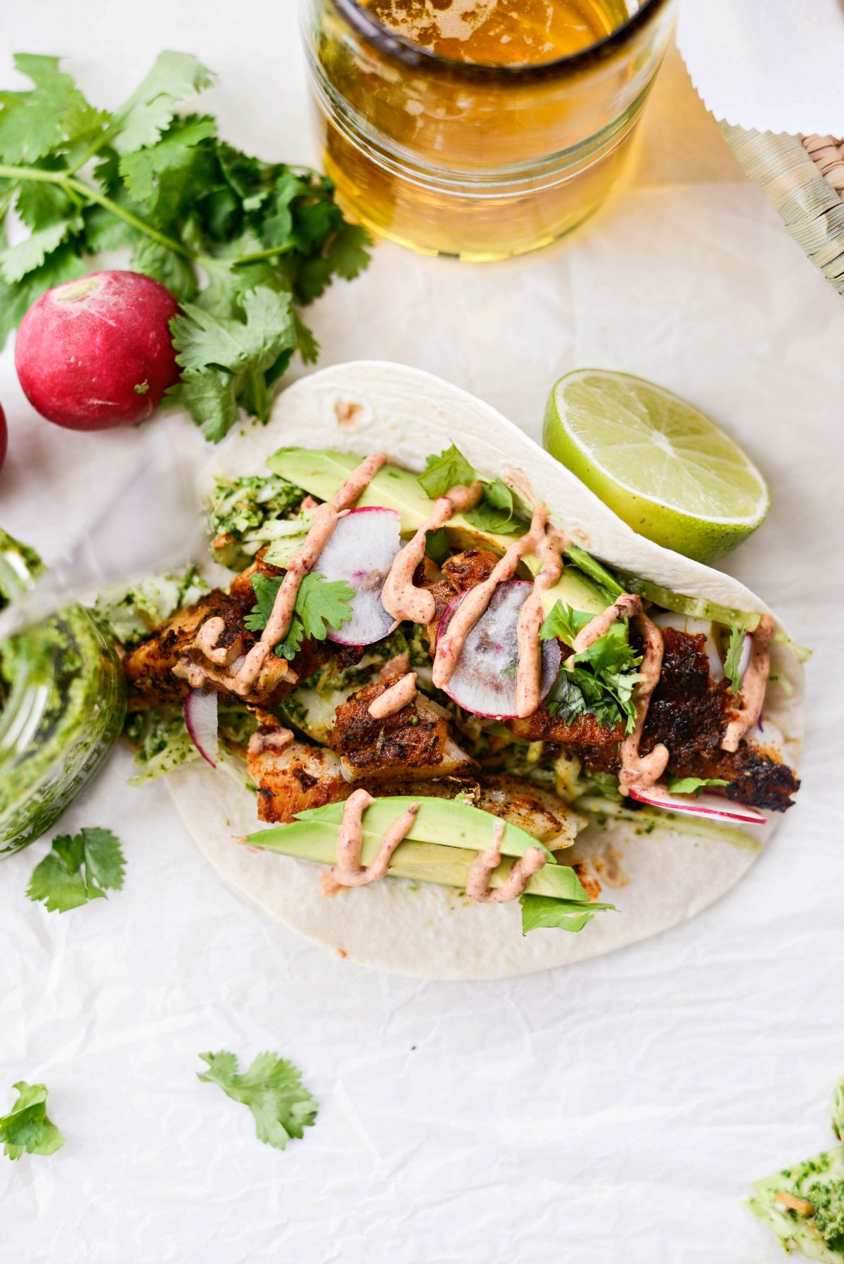 Blackened Fish Tacos with Cilantro Pesto Slaw l SimplyScratch.com #blackened #fish #tacos #cod #cilantroslaw