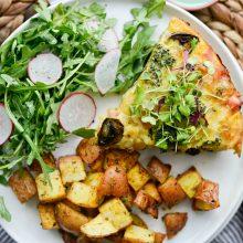 Broccoli Ham and Swiss Crustless Quiche l SimplyScratch.com #easter #brunch #mothersday #ham #broccoli #swiss #quiche