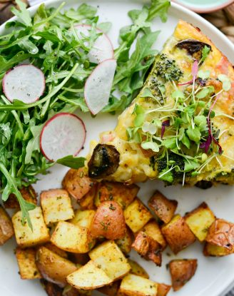 Broccoli Ham and Swiss Crustless Quiche l SimplyScratch.com #easter #brunch #mothersday #ham #broccoli #swiss #quiche