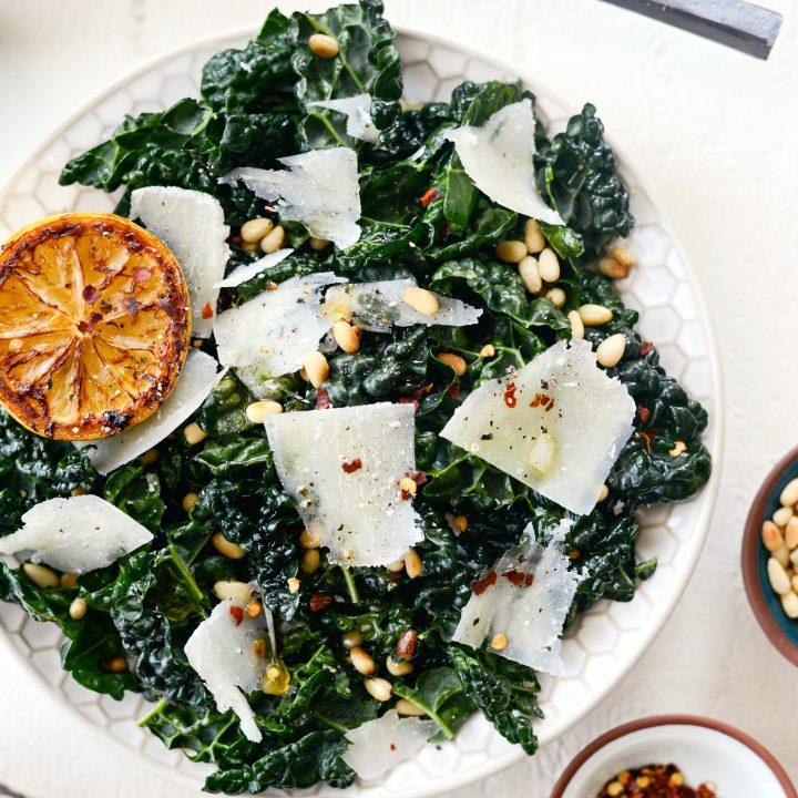 Charred Lemon and Tuscan Kale Salad l SimplyScratch.com #tuscan #kale #charred #lemon #pecorino #pinenuts