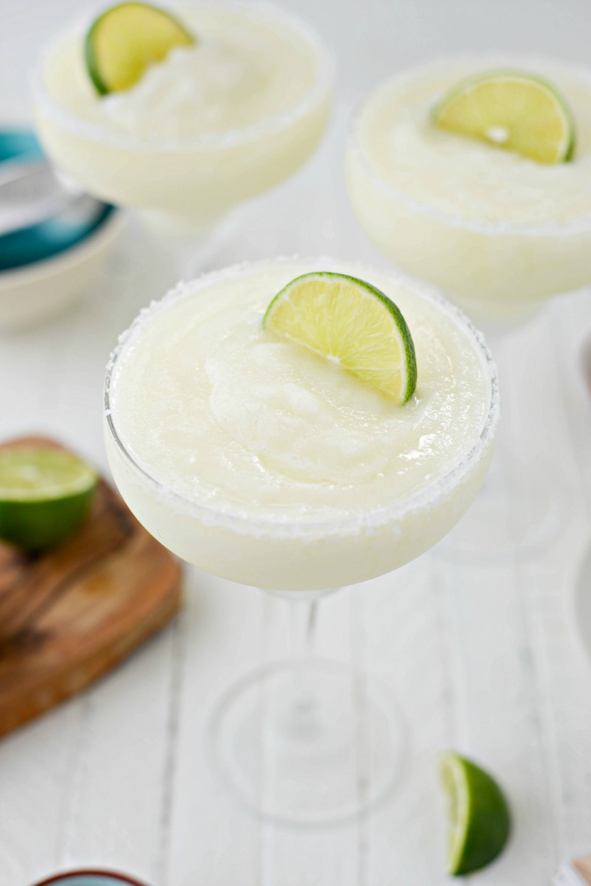 Frozen Margarita Slush in frosted glass.