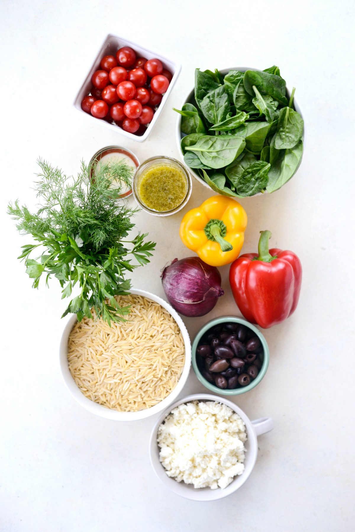 Greek Orzo Salad Ingredients l SimplyScratch.com #greek #orzo #pasta #salad #spinach #feta #picnic