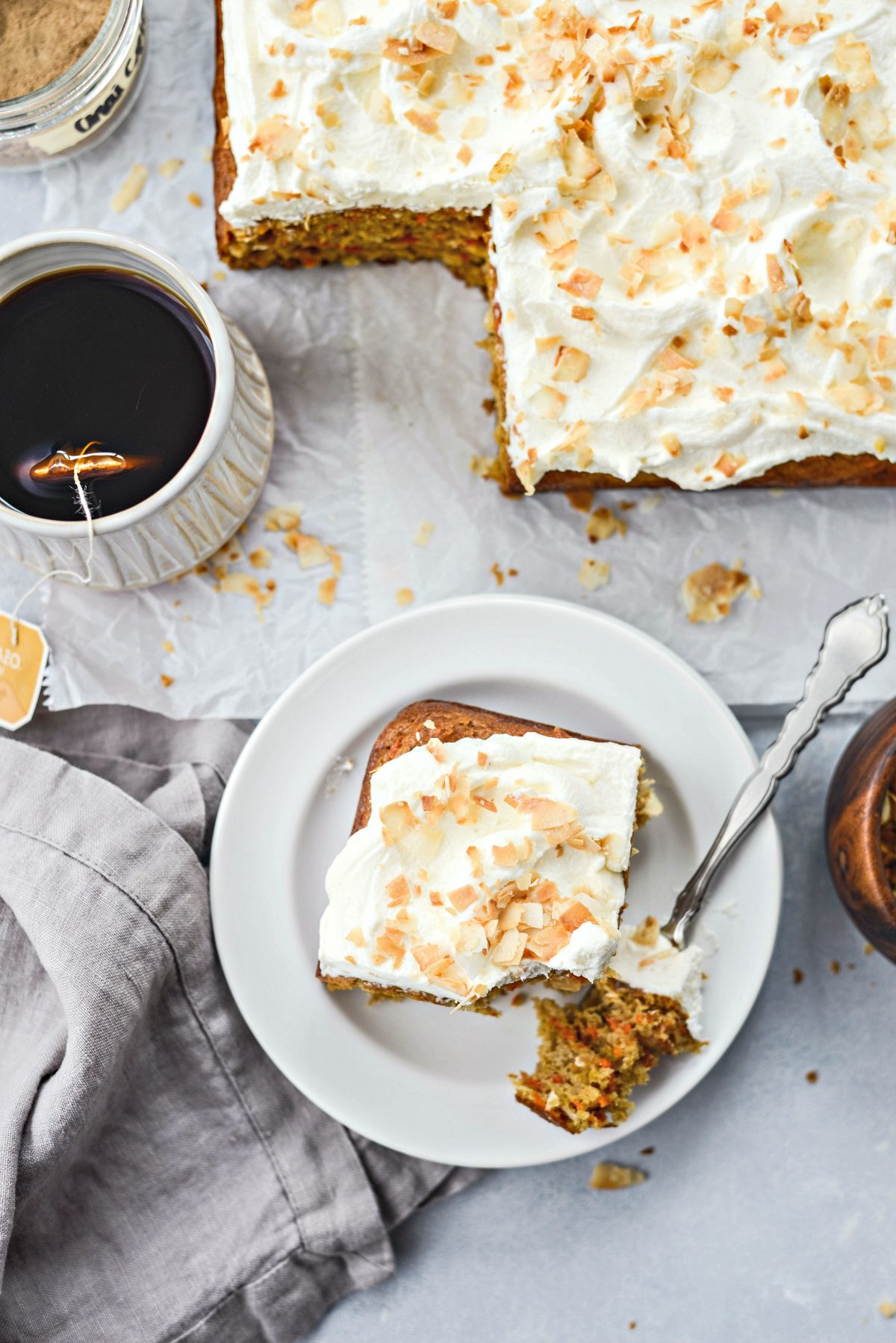 Toasted Coconut Chai Carrot Cake with Mascarpone Frosting l SimplyScratch