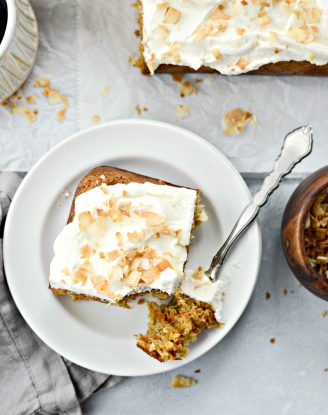 Toasted Coconut Chai Carrot Cake with Mascarpone Frosting l SimplyScratch.com #coconut #carrot #cake #chai #easter #carrotcake #mascarpone #frosting