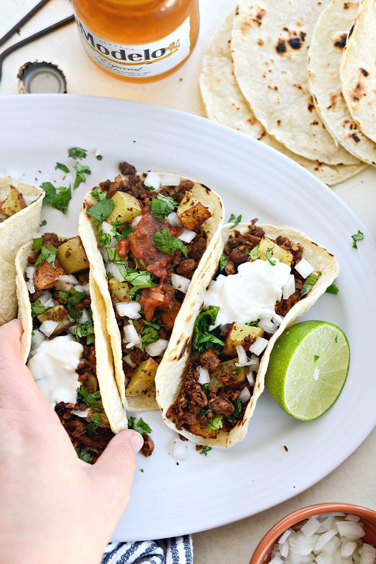 Vegan Chorizo and Crispy Potato Tacos l SimplyScratch.com grab