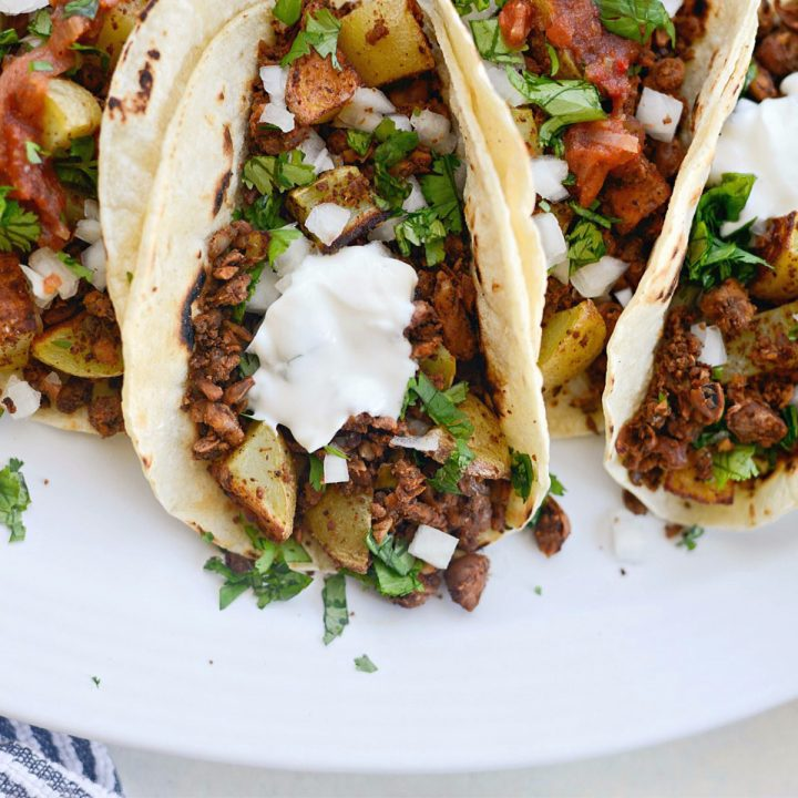 Vegan Chorizo and Crispy Potato Tacos