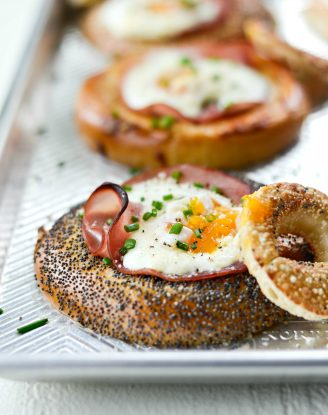 Baked Egg in a Hole Bagels l SimplyScratch.com #bagels #eggs #ham #sheetpan #mothersday #breakfast #easy #recipe