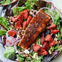 Blackened Salmon Salad with Strawberry Peppercorn Vinaigrette