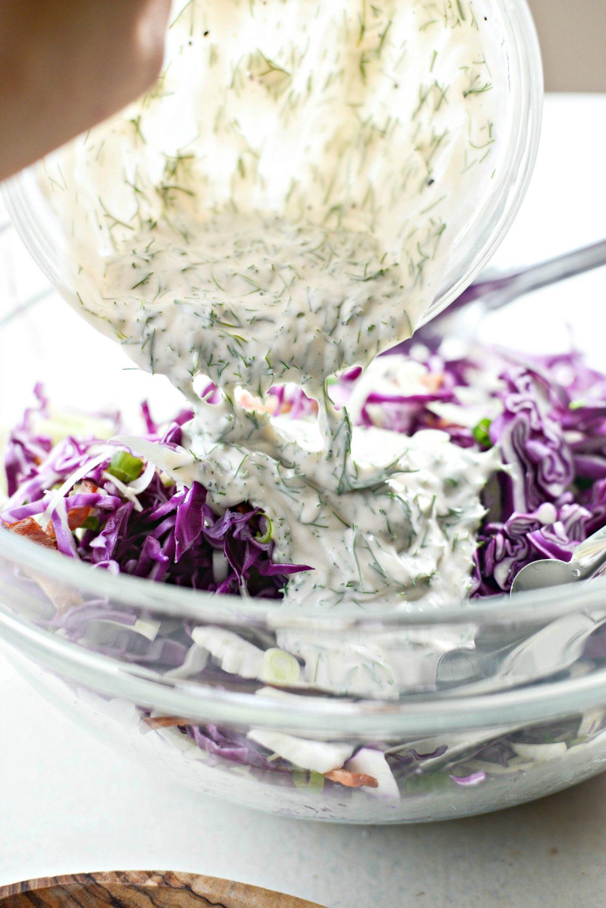 Fennel Cabbage Slaw l SimplyScratch.com #fennel #cabbage #slaw #greekyogurt #dressing #bacon #coleslaw