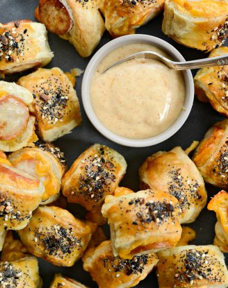 Pigs in a Blanket with Jalapeño Mustard Dip l SimplyScratch.com #smokedsausage #kalache #appetizer #snack