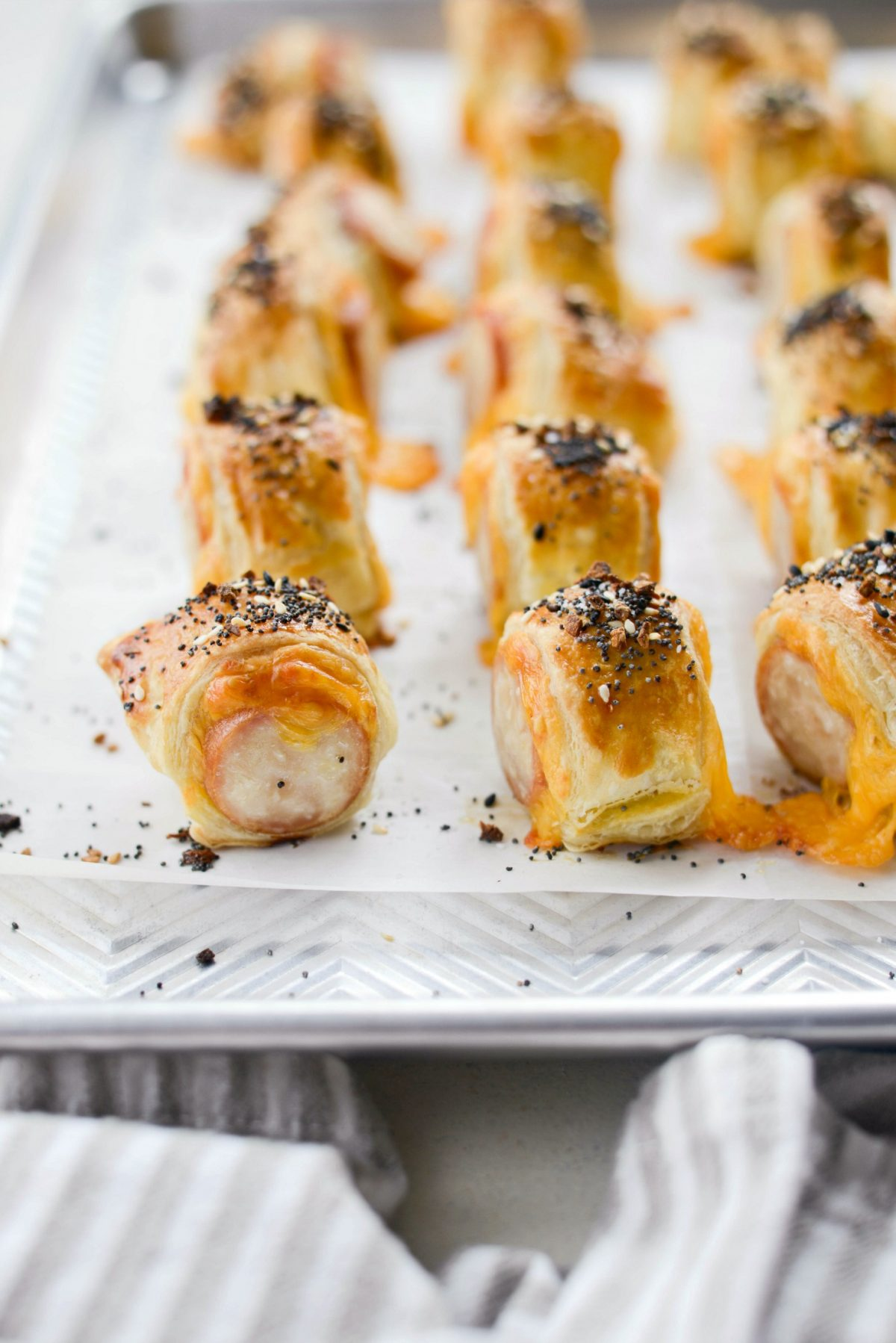 Pigs in a Blanket with Jalapeño Mustard Dip l SimplyScratch.com #smokedsausage #kolache #appetizer #snack