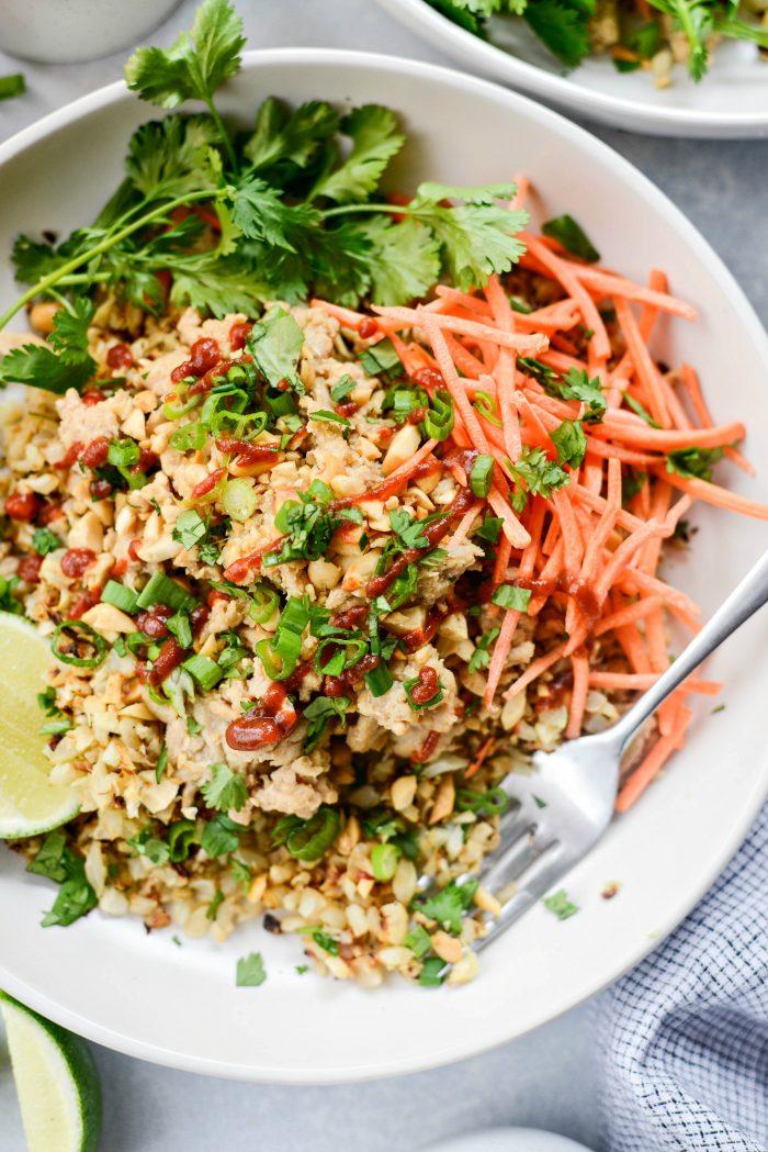 Quick Thai Chicken Cauliflower Rice Bowl - Easy Weeknight Meals