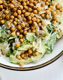 Chicken Caesar Pasta Salad l SimplyScratch.com #chicken #caesar #pastasalad #recipe #avocado #roastedchickpeas
