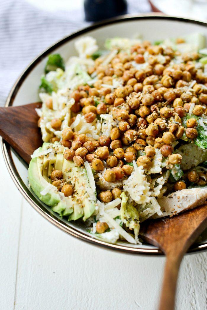 Chicken Caesar Pasta Salad l SimplyScratch.com #chicken #caesar #pastasalad #recipe #avocado #roastedchickpeas