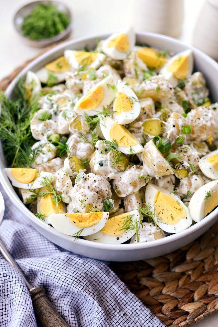 Dill Pickle Potato Salad l SimplyScratch.com #potato #salad #dillpickle #potluck #cookout