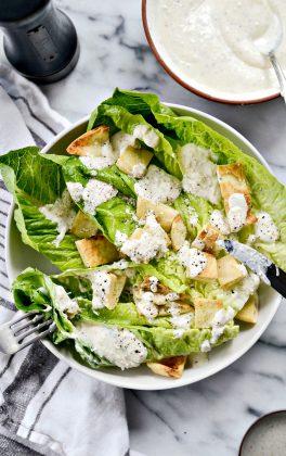 Greek Yogurt Caesar Salad Dressing l SimplyScratch.com #caesar #greekyogurt #easy #salad #dressing #light