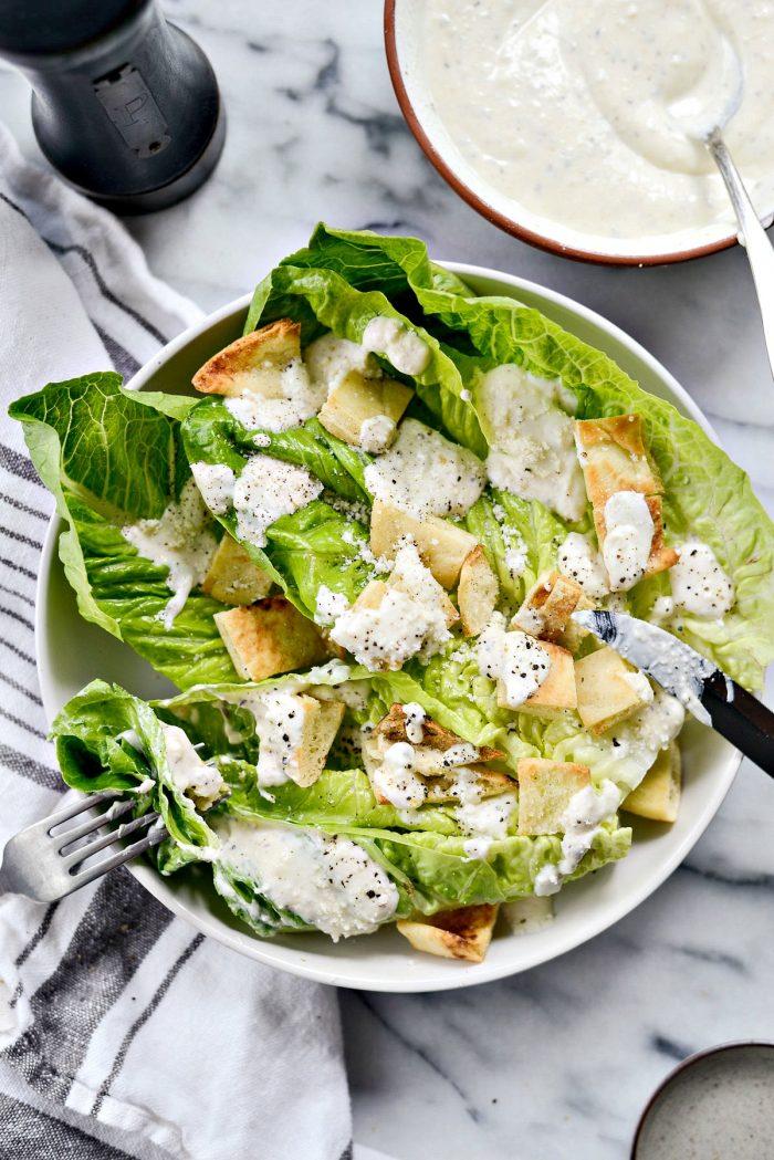salad with creamy Greek Yogurt Caesar Dressing